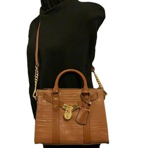 MICHAEL KORS HAMILTON CHESTNUT SMALL LEATHER